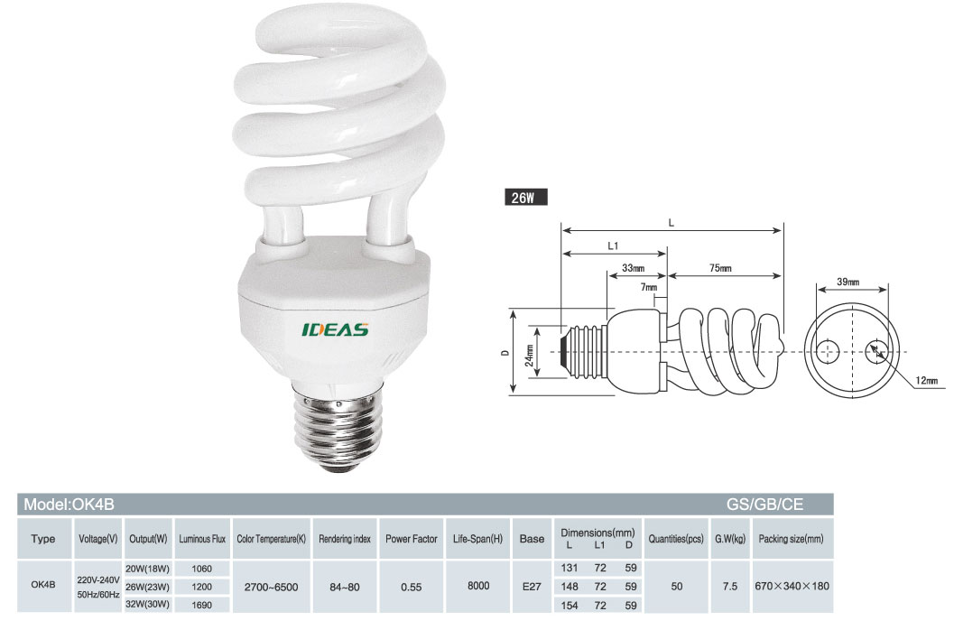 energy saving lamp, CFL, half spiral