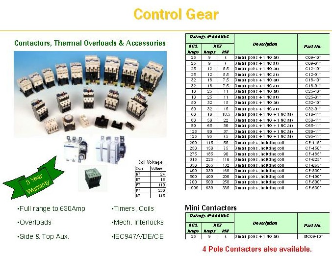 Contactors, Overloads And Accessories