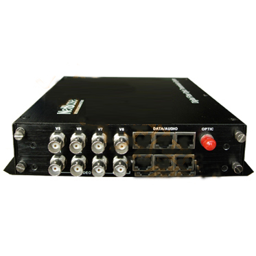 8-channel fiber optic video transmitter/receiver