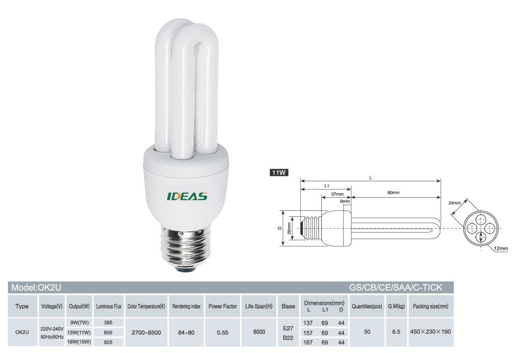 energy saver, CFL, U shape