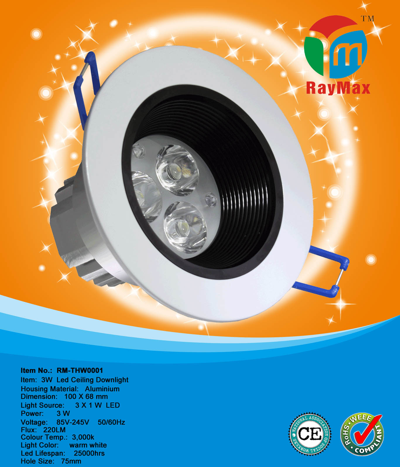 3W RECESSED DOWNLIGHT FIXTURE LED