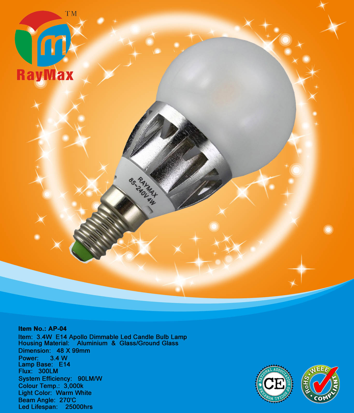 3.4w led candle light lamp bulb dimmable