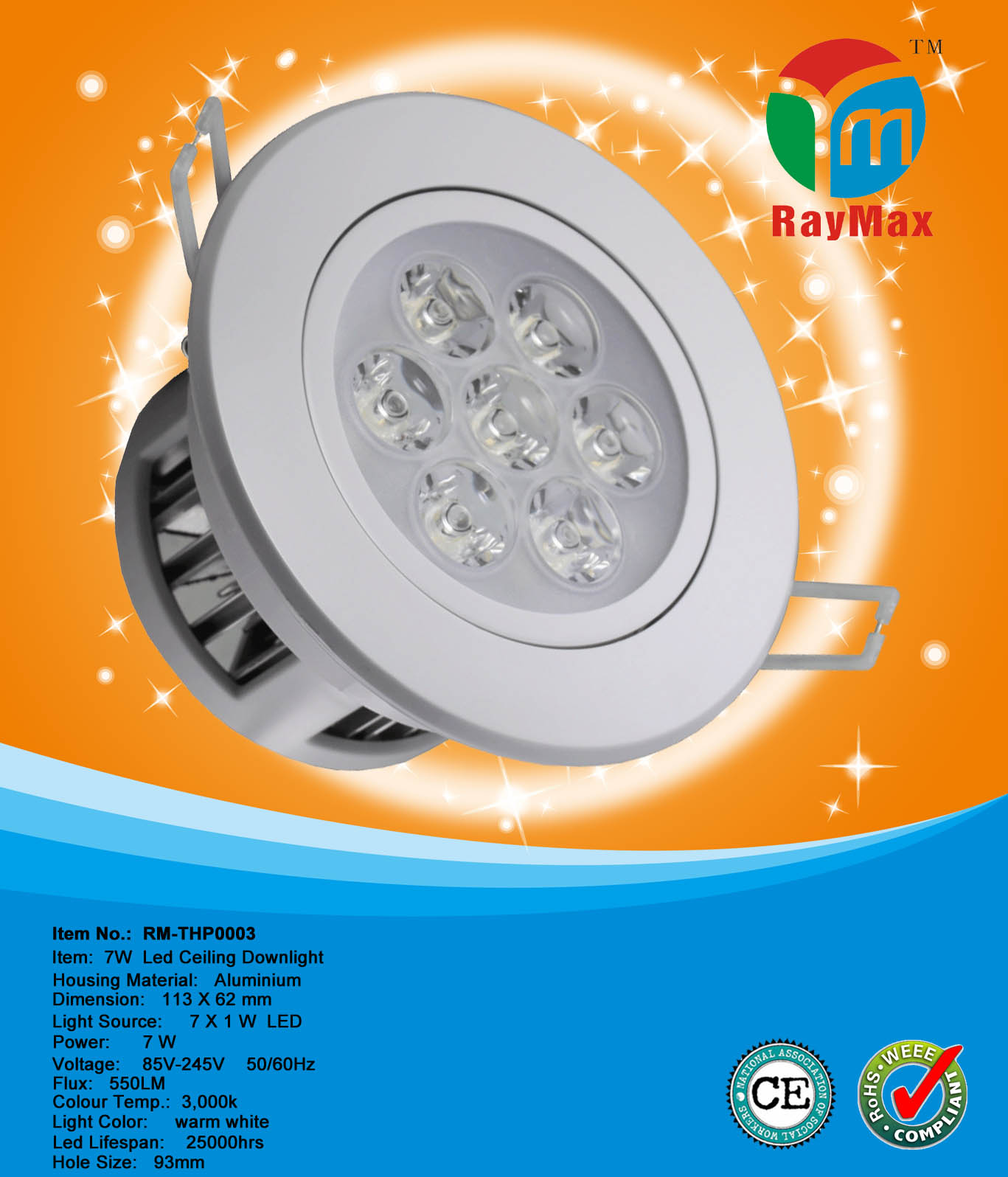 7W LED ADJUSTABLE DOWN LIGHT LAMP