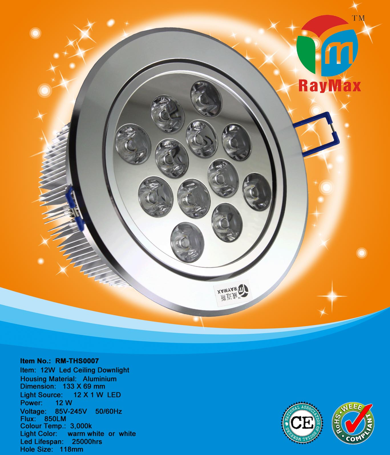 12W CE AND ROHS APPROVAL LED DOWNLIGHT