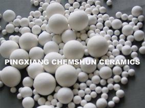 Inert perforated ceramic ball