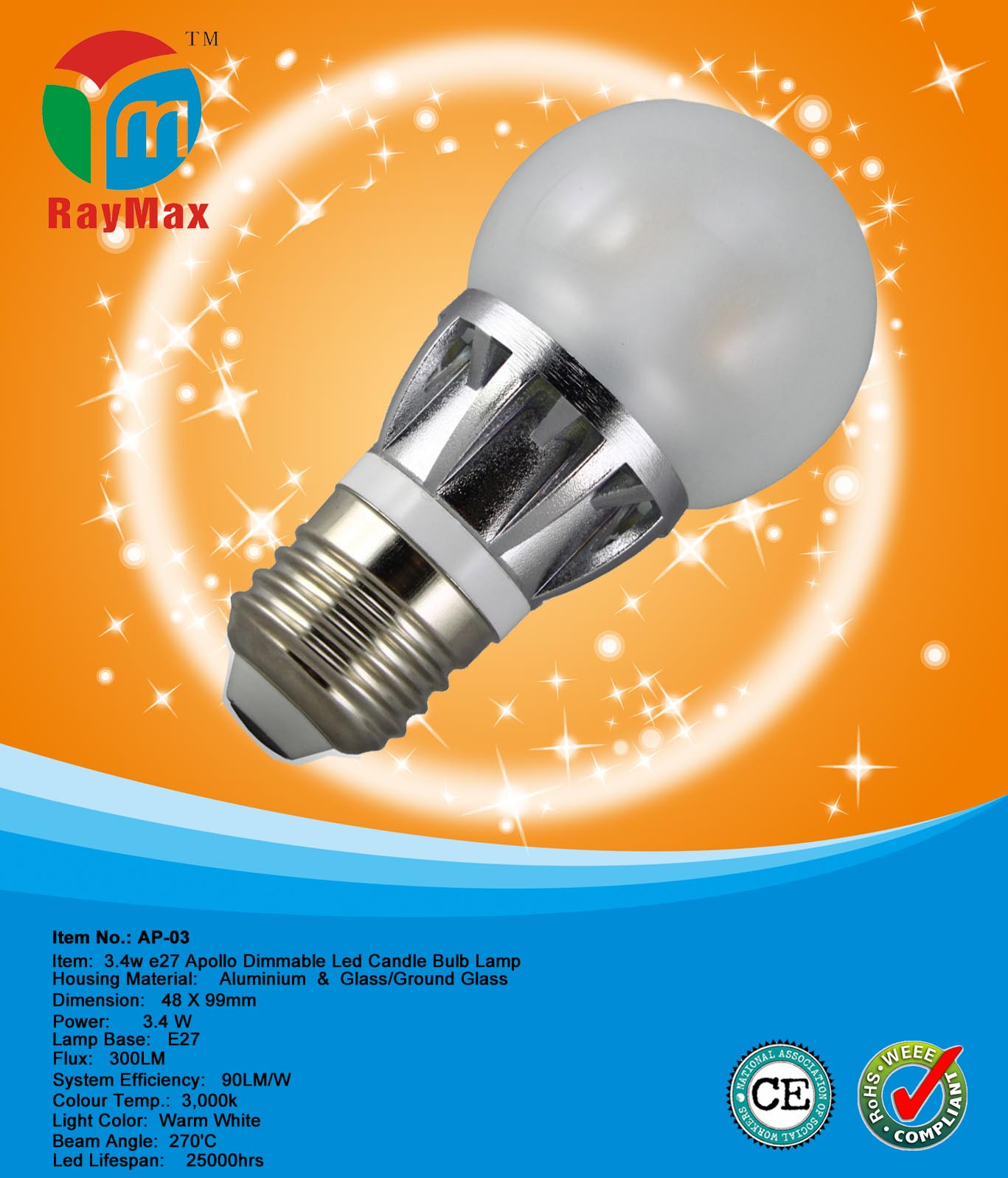 3.4W E27 dimmable led candle bulb lamp light