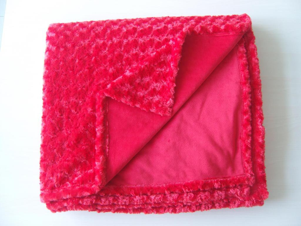 Embossed PV plush micro velboa blanket