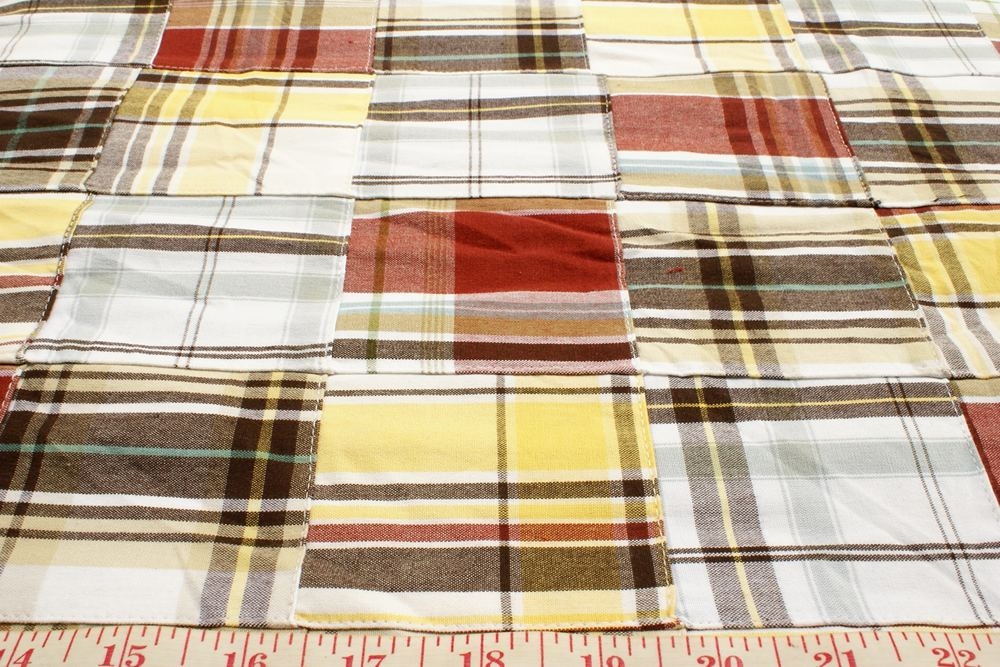 Patchwork madras plaid fabric