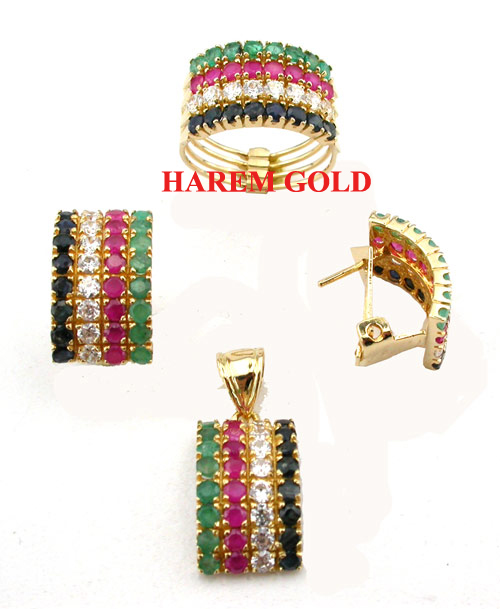 Gold earrings and pendant set with price 2014