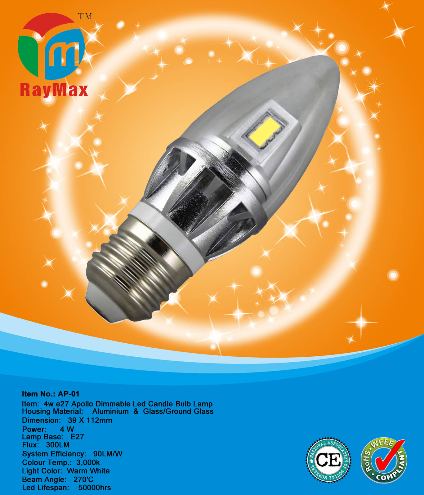 3.4W E27 Apollo Dimmable Led Candle Bulb Lamp