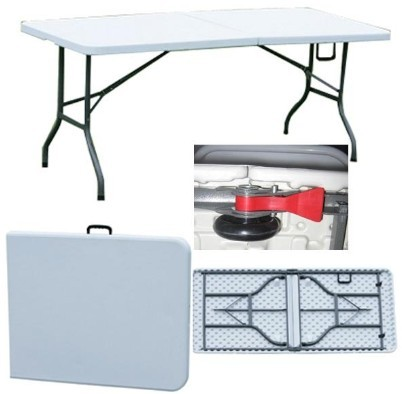6ft Plastic Folding Table with Lock and Wheels