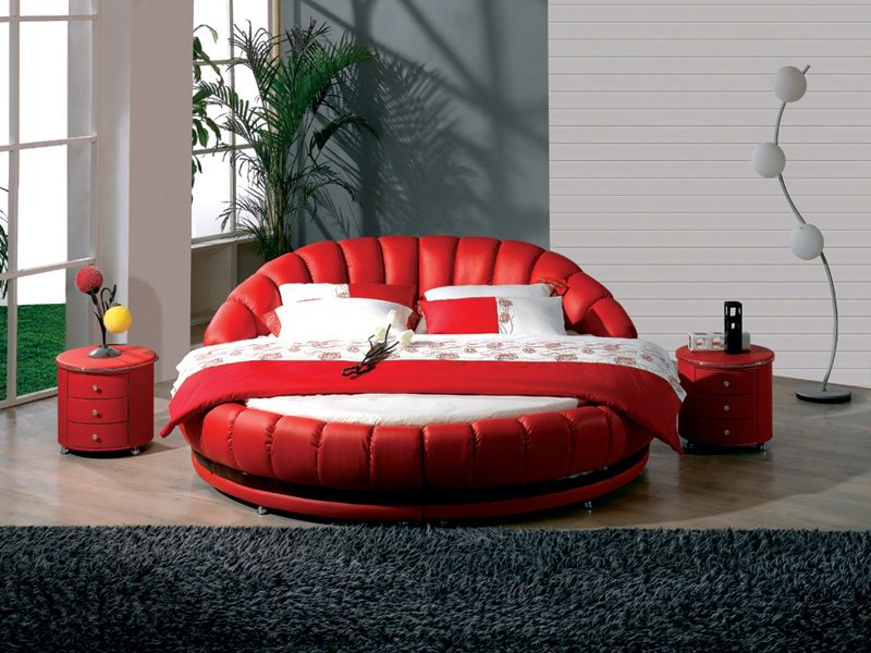modern round beds with red and white colors