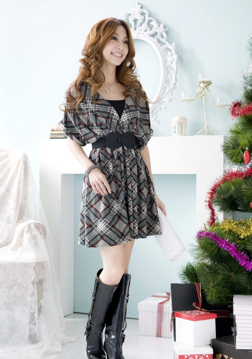 Grey Black Deep V Neck Plaid Cotton Dress