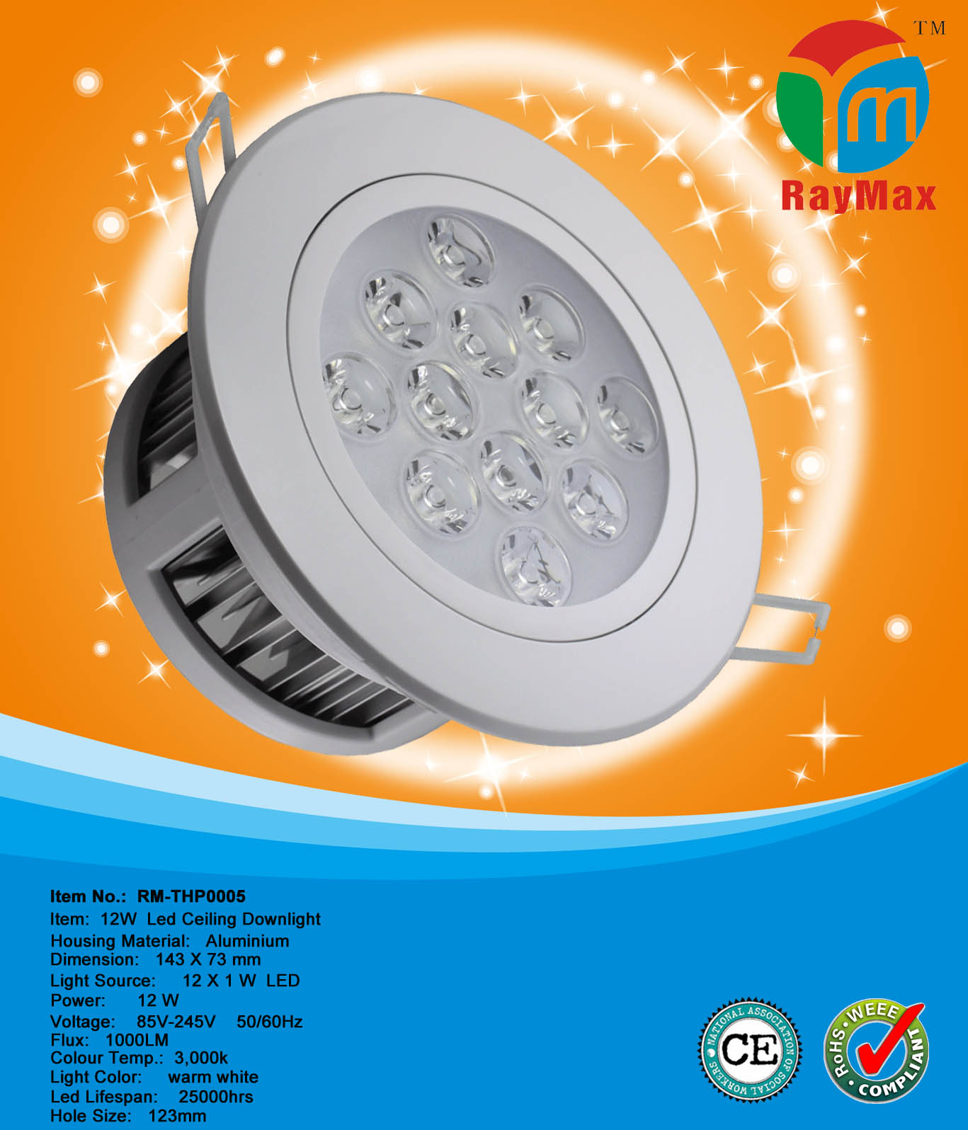 12W LED RECESSED DOWN LIGHT LAMP