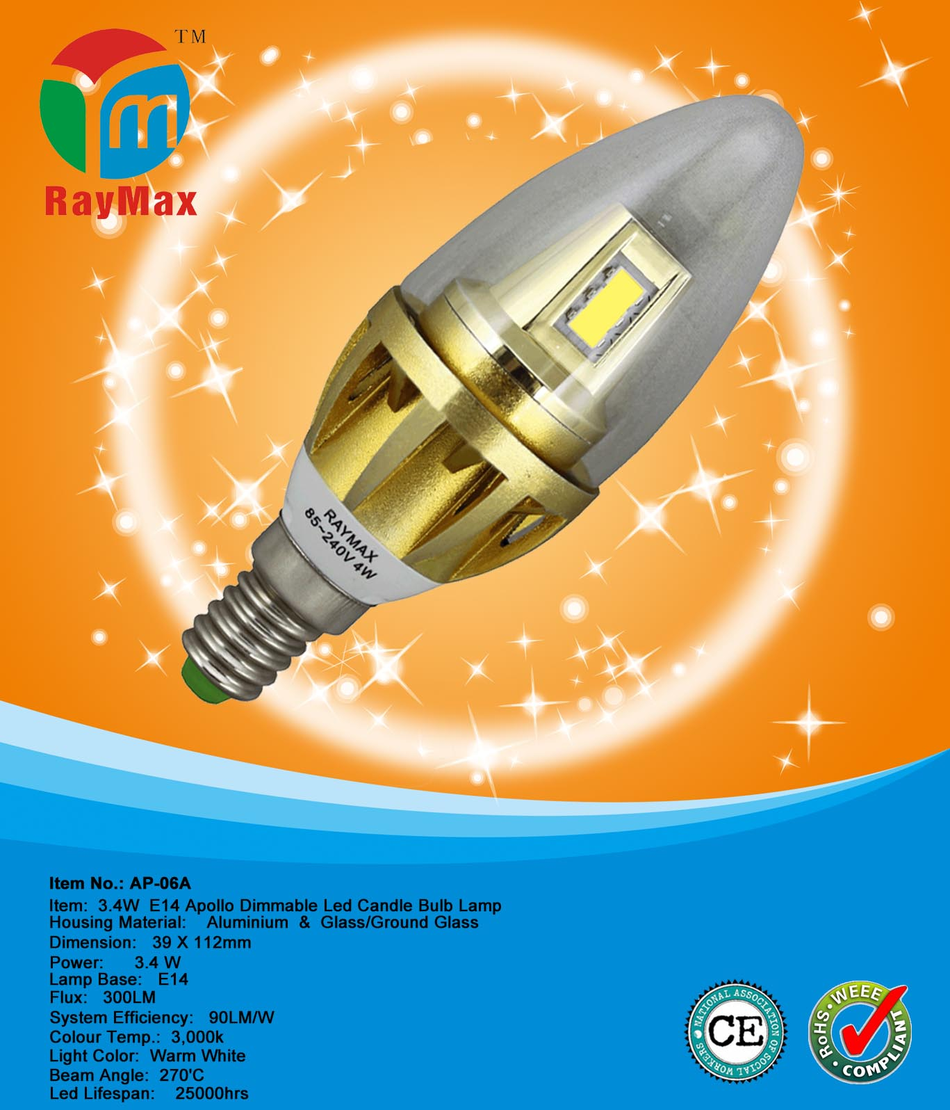 3.4W led candle flame light bulbs