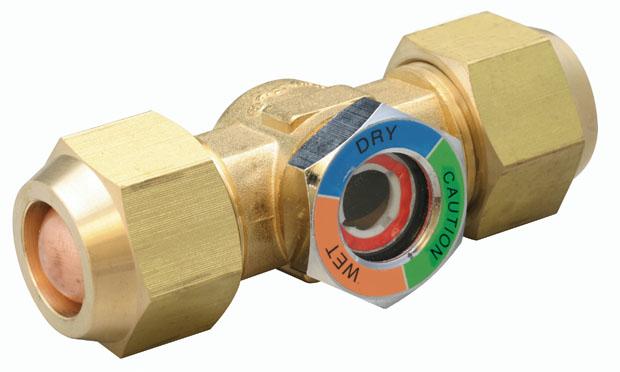 Sight glass moisture indicator brass fittings
