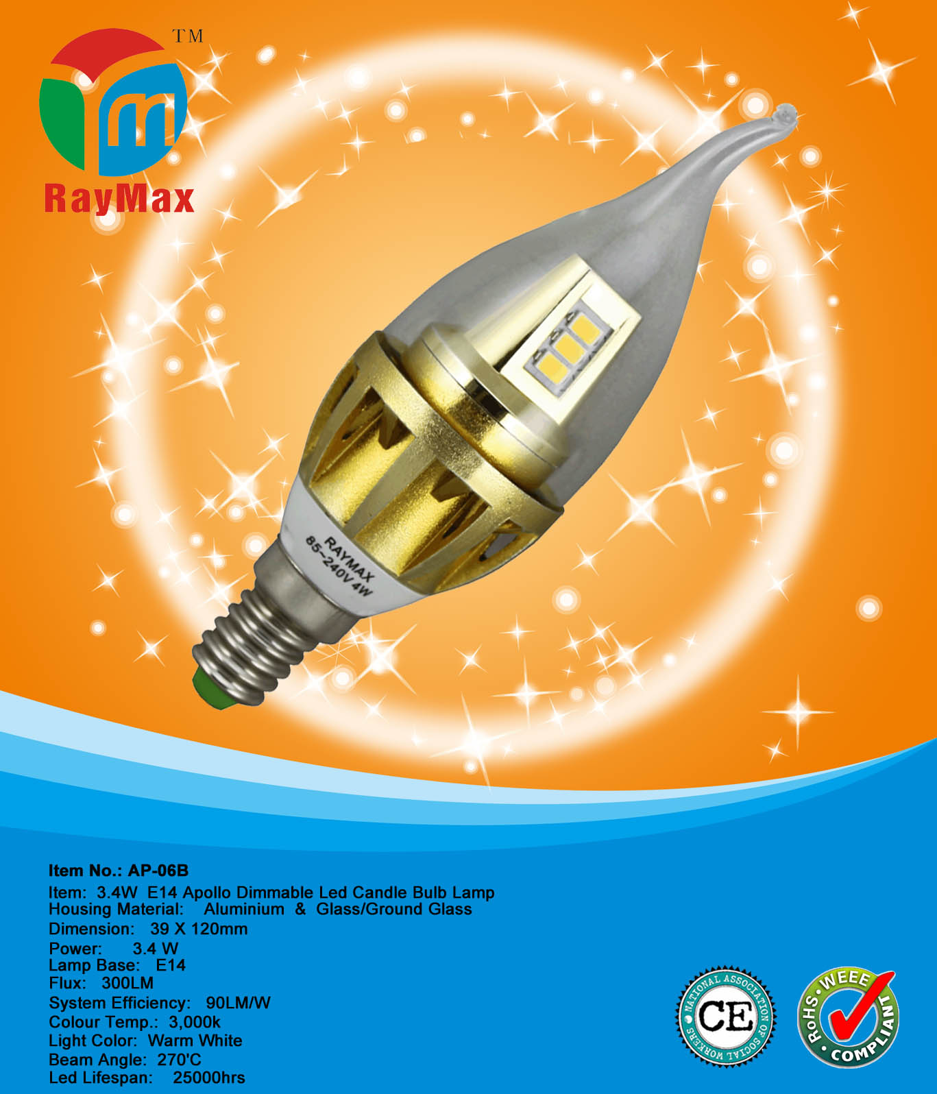 3W LED BULB LAMP DIMMABLE E14