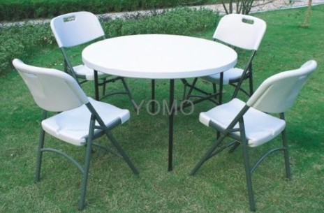 44inch Round Plastic Folding Table with Four Folding Chairs