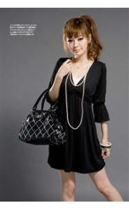 Latest Korean Style Fashion Deep V Collar Pleat Dress