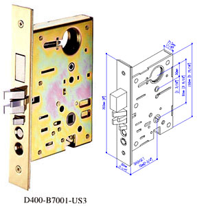 Baldwin style UL fire rated mortise lock