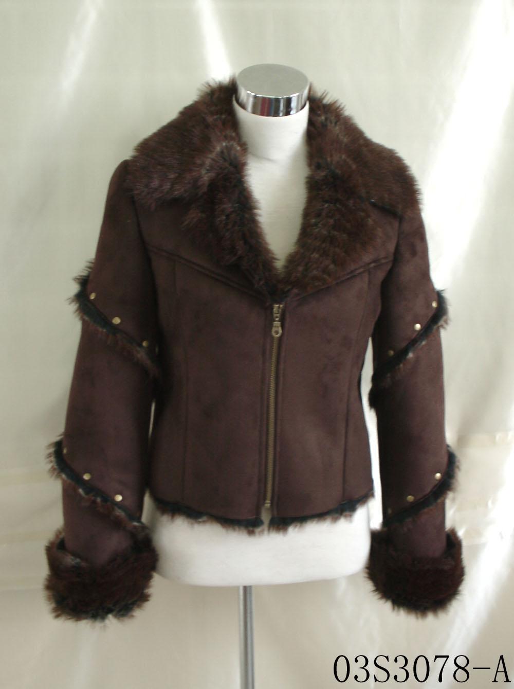 Ladies Suede Bond With Fake Fur Jacket