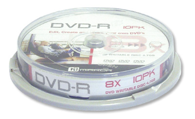 Mirror Dvd-r 8 x speed Grade A media